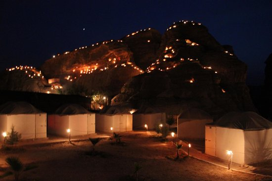 Seven Wonders Bedouin Camp: The camp at night!