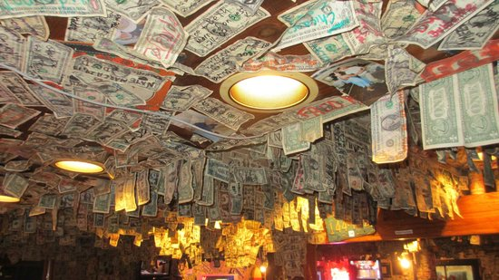 The Siesta Key Oyster Bar : One Dollar Bill ceiling!!