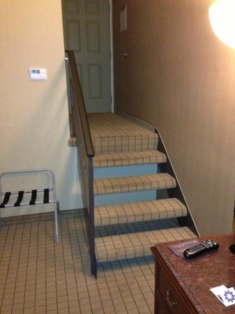 Sheraton Pasadena: Enter door, go down basement like stairs to bed
