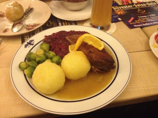 Goldener Ring: The goose breast with brussell sprouts and potatoes.