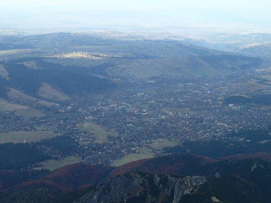Giewont Mountain: View of Zakopane from Giewont