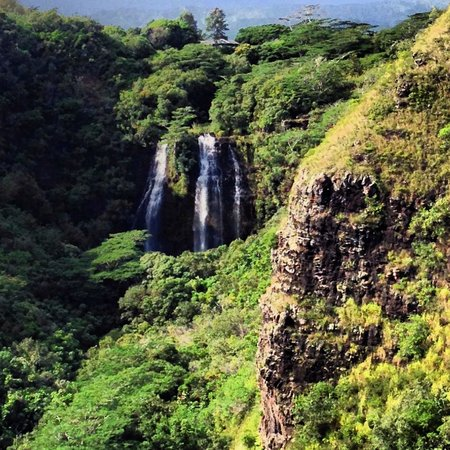 Opaekaa Falls: Zoomed in view from my iPhone