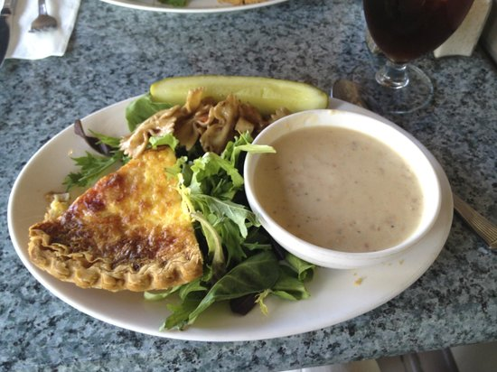 A Ca Mia: Artichoke Quiche with New England Clam Chowder