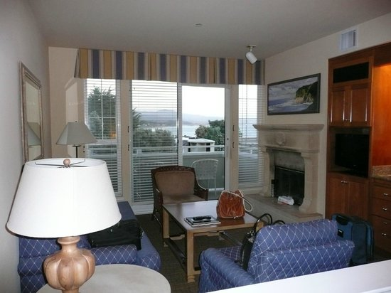Beach House at Half Moon Bay: fireplace, sitting area, balcony
