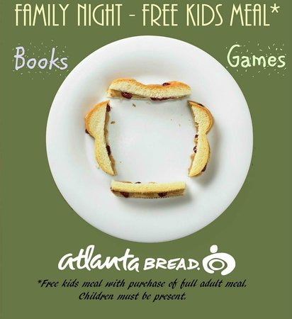 Atlanta Bread: Kids eat free Monday night with adult meal purchase