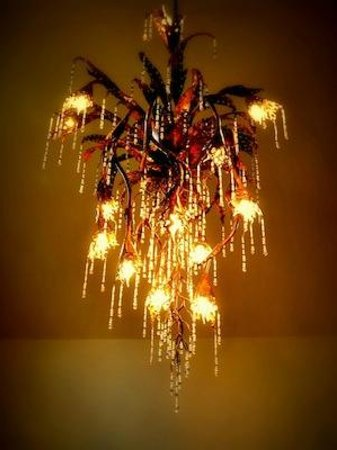 Riverside Cafe: the stunning chandelier, made by our resident artist!