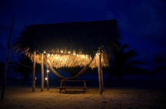 driftwood beach bar & pizza shack : One of the hammocks on the beach at night