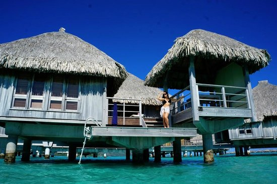 The St. Regis Bora Bora Resort: From the ocean looking at our bungalow