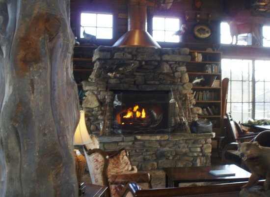 White River Fish House: fireplace
