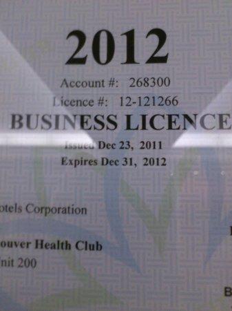 Fairmont Hotel Vancouver : License