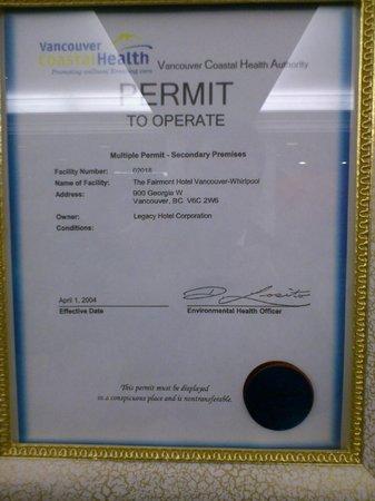Fairmont Hotel Vancouver: License