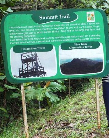 Kubah National Park : notice board for the summit trail