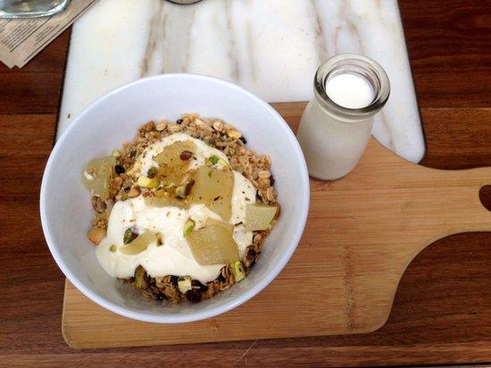 Punthill Brisbane: Toasted muesli with vanilla poached pears, honey yogurt + pistachio - jak + hill