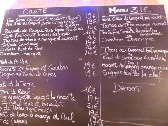 Lou Grilladou : l'ardoise