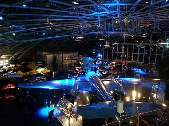 "Bar Mayday - Red Bull Hangar-7: View from ""balcony"" of the Mayday Bar"
