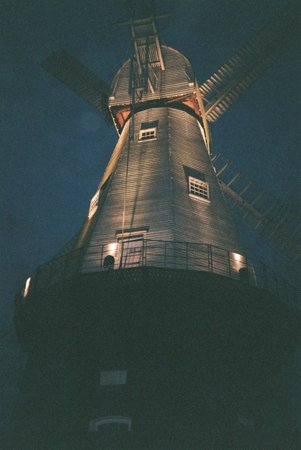 Union Mill : Windmill at Night from Russells Yard entrance