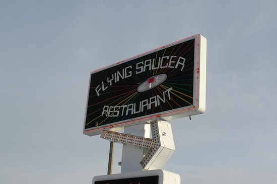 Flying Saucer Drive-In: Restaurant sign