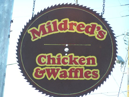 Mildred's Chicken & Waffles: Look for this sign on Hwy. 59 across from the JISD sign!