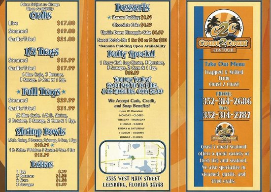 Coast to Coast Seafood: menu