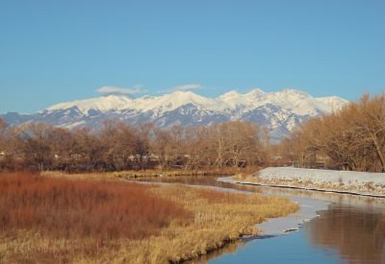 A snowy Mt. Blanca is the best view to take in while enjoying a run on Alamosa's various trails!