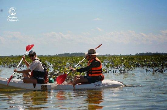 Yucatan Outdoors: Kayaking through the silent, pristine mangroves.