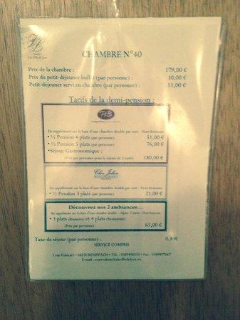 Hostellerie a la Ville de Lyon : Pictogramme tarif