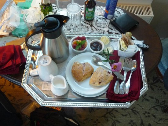 Westport Hotel: The Breakfast Tray with a bite out of the Scone