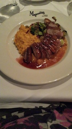 Magnolias: Duck Breast with butternut squash and brussels sprouts
