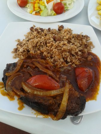 Caribbean Mermaid: jerk pork with brown rice