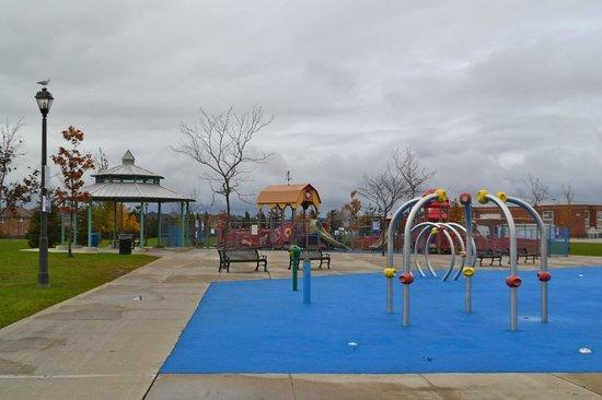 Mackenzie Glen District Park: Jungle gym, splash pad, and gazebo