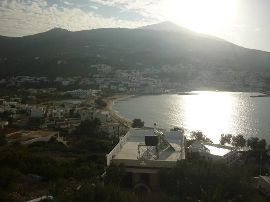 view from Blue dolphin hotel overlooking Batsi