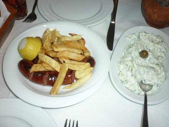 Stamatis Restaurant : tsatsiki and traditional sausage from andros