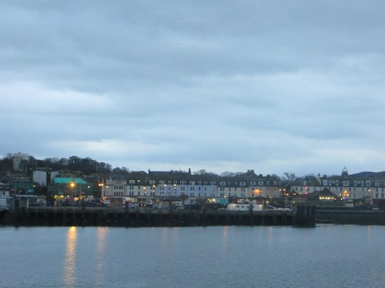 The Victoria Hotel: view of rothesay and hotel from boat
