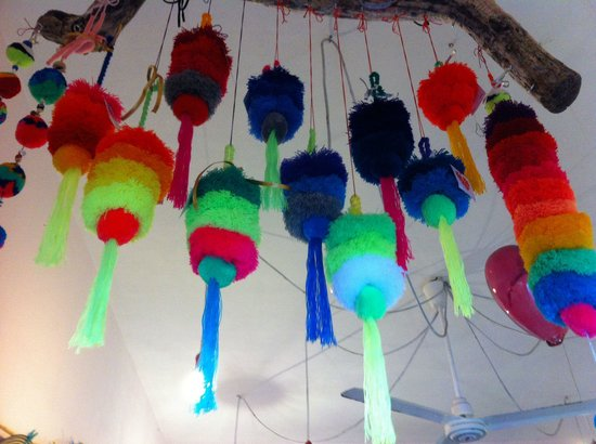 Punta de Mita, Mexico: Los Pom Pom de la suerte (good luck), hand made by isabel a spanish-african Artist dedicated to