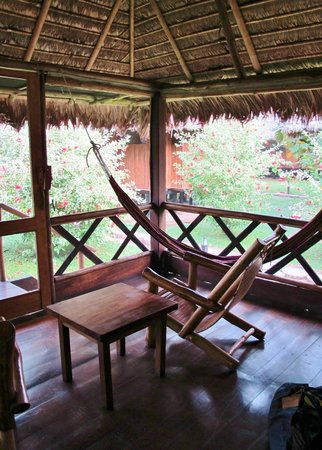 Inkaterra Reserva Amazonica : hammock in front of cabana- notice windows- all open air
