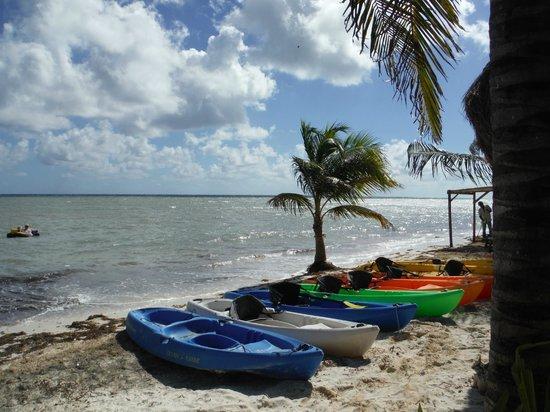 Maya Chan Beach : View of the beach, Kayaks, Maya Chan
