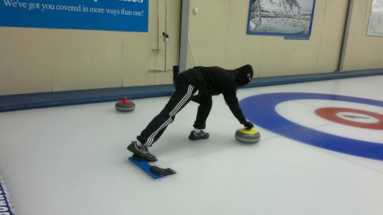 Indoor Curling Rink: In action!