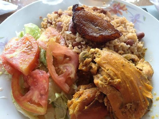 Restaurante Las Orquideas : Braised chicken, rice and beans, tomato and lettuce salad with vinegar dressing, and plaintain s