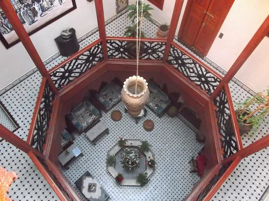 RIAD EL WIAM: From the terrace, looking down to 2nd and ground floor.