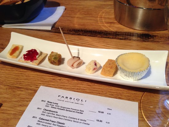 Fabbioli Cellars: The food pairing lineup for the Fall tasting