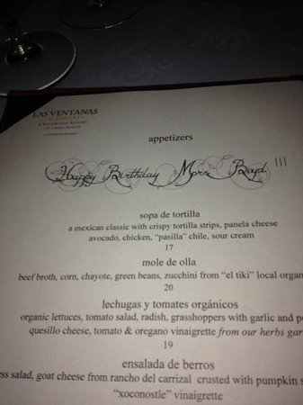 The Restaurant @ Las Ventanas al Paraiso: Personalized menu...nice