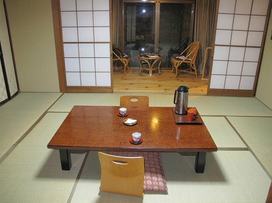 traditional Japanese dining table in room.