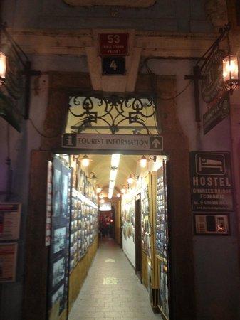 Charles Bridge Economic Hostel: Entrance of hostel - it's a tourist information center!