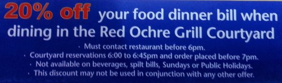 Red Ochre Grill Restaurant Alice Springs: EARLY BIRD DINNER OFFER & Conditions