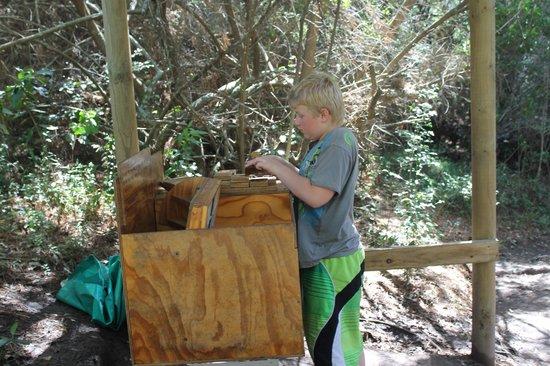 Plett Puzzle Park: Solving a puzzle int he forest walk