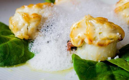 "Casa Espana : Scallops Stuffed with Organic Spinach ""Catalonian"" Style."