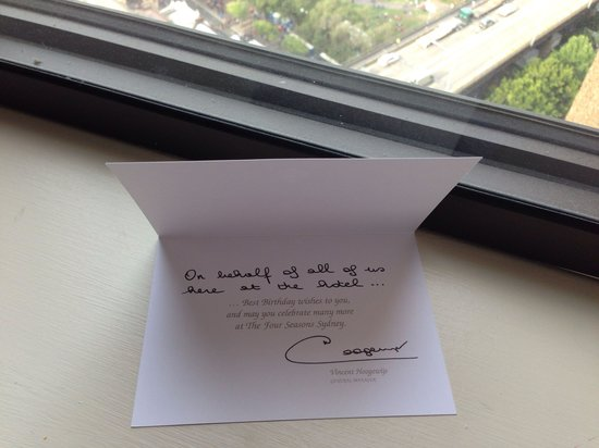 Handwritten Birthday Card By The Manager Picture Of Four Seasons