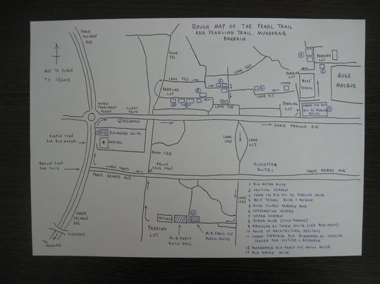 Al Muharraq, Baréin: Rough map of the Pearl Trail (aka Pearling Trail)