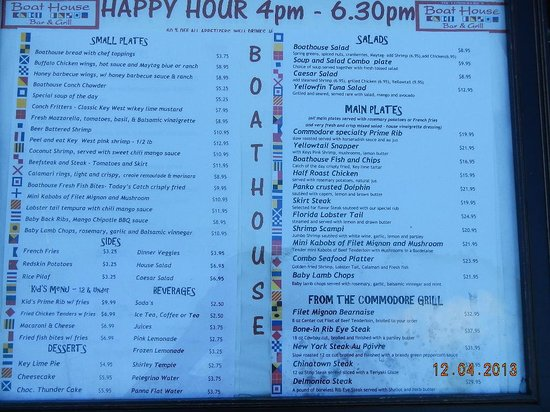 The Boat House: Happy Hour Menu