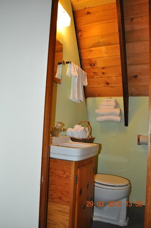 Telemark Motel: A-Frame Suite bathroom with shower